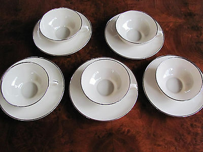 Franciscan China Encanto Ivory Platinum Trim - Set of 5 Cups and 5 Saucers