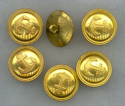 #368C) Lot of Six Gilted Anchor Buttons (15/1Mar) oldieman53