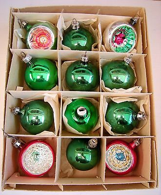 Vtg Box Lot Glass Christmas Ornament Indents Red Green Silver Glitter E. Germany