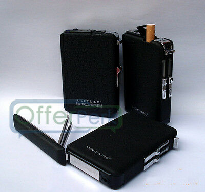 Cigarette Case & Lighter Automatic Ejection Butane Windproof Metal Box Holder