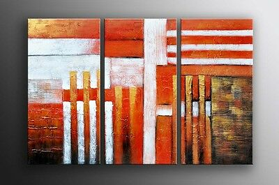 """Huge Oil Painting Canvas 3pc/set 60x40""""H Art Deco Hand painted Modern Abstract"""