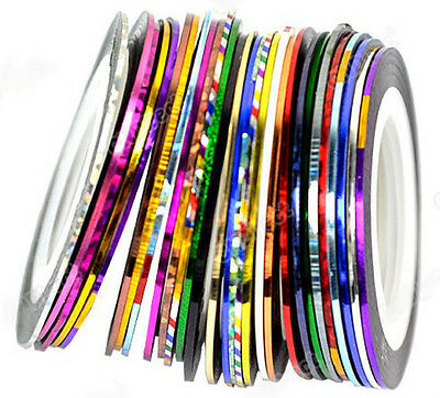 Hot Lots 30Pcs Mixed Colors Rolls Striping Tape Line Nail Art Decoration Sticker