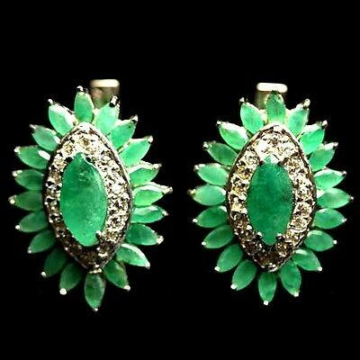 SUPREME! NATURAL! GREEN EMERALD & WHITE CZ STERLING 925 SILVER EARRINGS WHITE GP