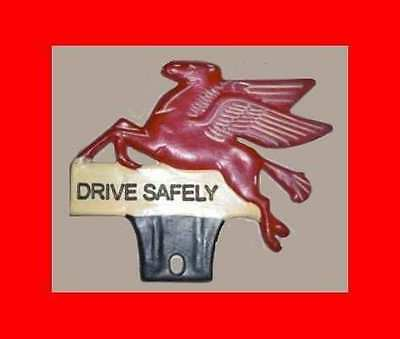 METAL MOBIL DRIVE SAFELY FLYING HORSE License Plate Topper Vintage nos Style NEW