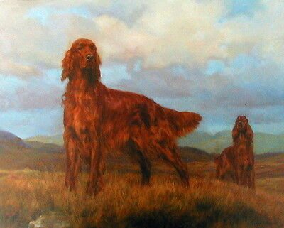 Frederick J Haycock TEAMWORK - Irish Setters Gun Dogs Shooting Prints Art Field