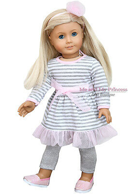 """STRIPED DRESS +LEGGINGS+HB+PINK SHOES - clothes fits 18"""" American Girl Doll Only"""