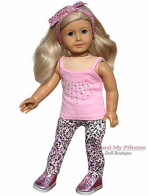"""TOP +HB+ CHEETAH LEGGINGS+GLITTER SHOES clothes fits 18"""" American Girl Doll Only"""