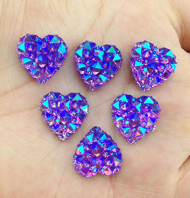 DIY NEW 20Pcs 14mm Purple AB Mini Faceted Flatback Resin Heart Buttons Craft
