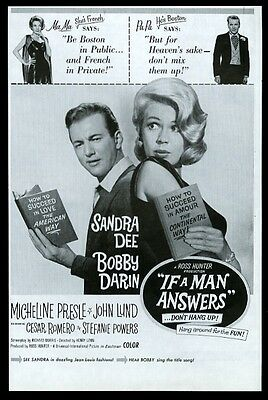 1962 Sandra Dee Bobby Darin photo If A Man Answers movie release print ad
