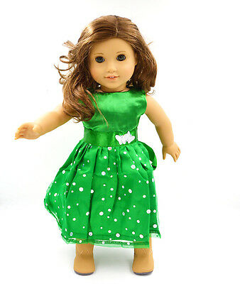 "Doll Clothes fits 18"" American Girl Handmade Green Party Dress"