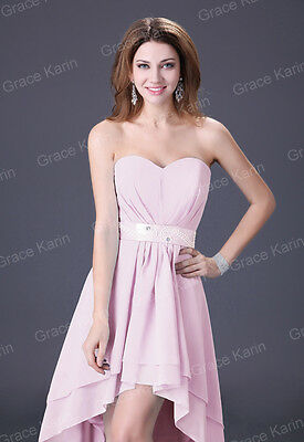 Pink Chiffon Cocktail Evening Bridesmaid Wedding Homecoming Prom Party dress 16