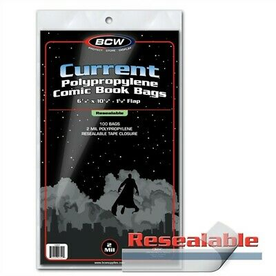 100 BCW RESEALABLE Current /Modern Comic Book Poly Bags +Acid Free Backer Boards
