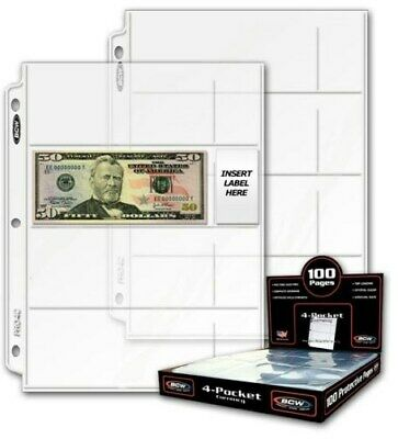 Box / 100 BCW Pro 4-Pocket Small Dollar Bill Currency Album Pages binder sheets