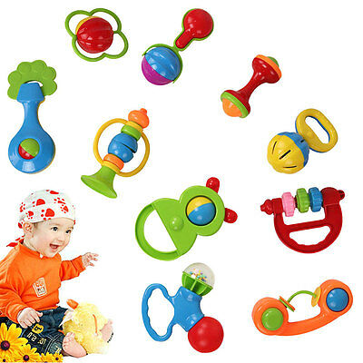New 10pcs Baby Rattle Hand Shaking Bell Eco-friendly ABS 3 Month+ Kids Toys