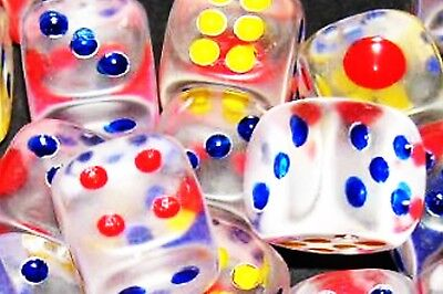 100 TRANSPARENT NEW DICE 15 mm CASINO GAME HOME,BIG LOT