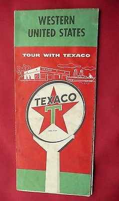 1959 Western United States  road  map Texaco  gas oil route 66 pre interstate