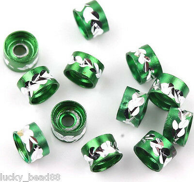Wholesale New 50pcs Exquisite Green Aluminum Tube Spacer Loose Beads 6MM