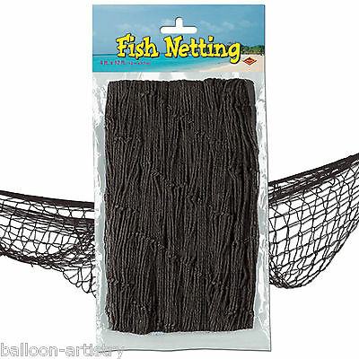12ft x 4ft Tropical Pirate Luau Party Decorative BLACK Fish Fishing Net Netting