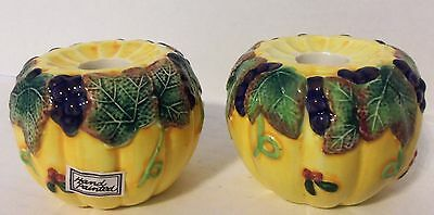 Fitz and Floyd Thanksgiving Banquet Set of 2 Pumpkin Shape Taper Candle Holders