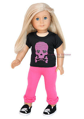 "HEART SKULL SHIRT + LEGGINGS + SHOES - Clothes fits 18"" American Girl Doll Only"