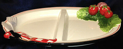 """AMBIANCE BARBEQUE DIVIDED SERVING DISH 13 1/4"""" WHITE WITH EMBOSSED VEGETABLES"""
