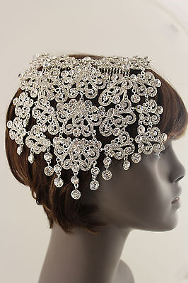 New Women Fashion Silver Metal Head Piece Pin Hair Wedding Jewelry Wide Long