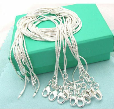 10PCS wholesale 925 Silver solid Fashion 1MM Snake chain Necklace FOR pendant