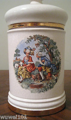 Vintage 24K Gold Plated Hand Painted Jar Canister