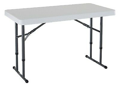 Lifetime 4 Commercial Grade Adjustable Folding Table White Granite New Item