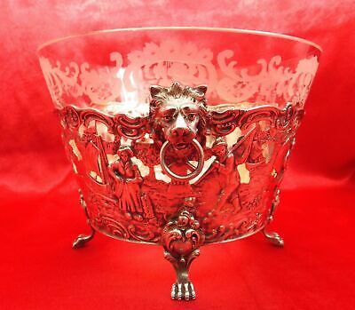 Antique Etched Crystal Bowl With Footed Silver Stand Circa 1800's Germany 800