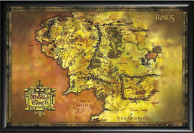 Lord Of The Rings Middle Earth Map Framed (Black)