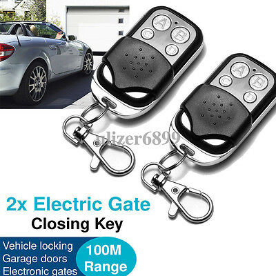 2x Universal Cloning Key Fob Remote Control For Garage Door Roller Shutter 433mh