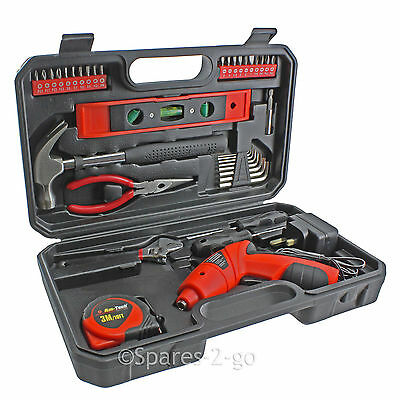 39 Pc Rechargable Electric Screwdriver Tool Bit Kit Hammer Hex Key Tape Measure