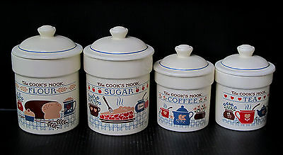Vtg Set of Treasure Craft Kitchen Canister Jars 4 Pc. Cooks Nook Exc Condition