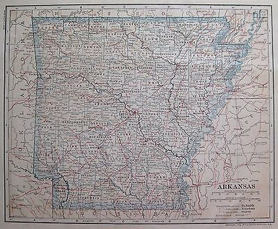 1914 Antique ARKANSAS Map  Beautiful Vintage State  Map of Arkansas #1273