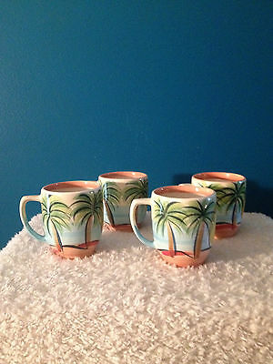 "Gail Pittman ""Seaside"" 16 oz Coffee/Tea Mugs  (4)   2008  Vintage - Discontinued"