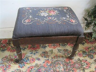 Beautiful Antique Needlepoint Floral Foot Stool American Vintage Quality Art