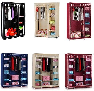 Multiple colors Double Triple Canvas Wardrobe with Hanging Rail Home storage