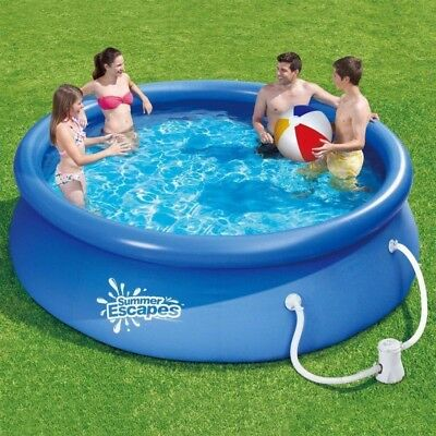 10ft Easy Up Swimming Pool + Cover + Water Filter Pump from Summer Escapes