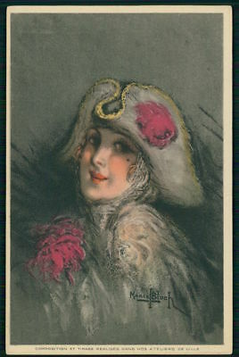 art Marcel Bloch Art Deco Napoleon Hat Fashion Lady old c1910-1920s postcard