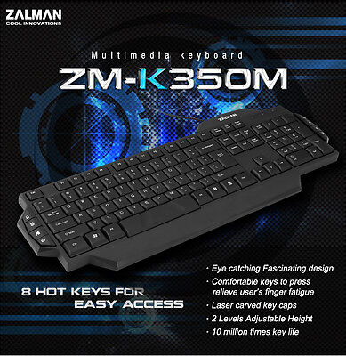 Zalman ZM-K350M Multimedia Office USB Keyboard, 8 Hot Keys, 2 Height Adjustments