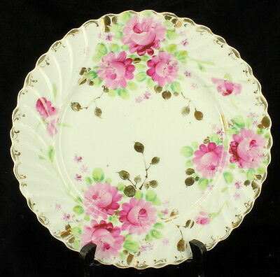 "Antique Nippon Gold Pink Peonies Flowers 9"" Scalloped Cabinet Wall Plate 1890's"