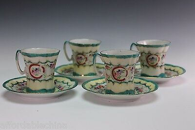 Antique Japanese Hand Painted 4 Cups Cup and 4 Saucers Saucer Green
