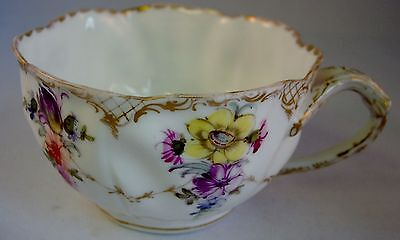 Crown Dresden Helena Wolfsohn Hand Painted Floral Cup