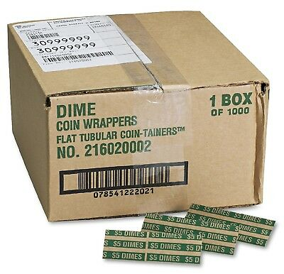 Coin Tainer Company Pop Open Flat Paper Coin Wrappers Dimes 1,000 Count - New