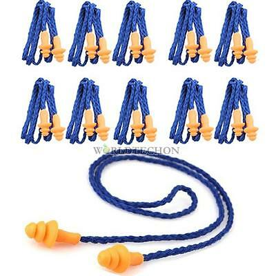 NEW 10Pcs Soft Silicone Corded Reusable Ear Plugs  Hearing Protection Earplugs