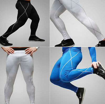 Hot Mens Under Tight Base Layer Pants Thermal Compression Long Leggings Sz M-XXL