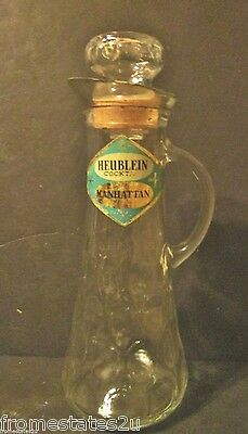 VINTAGE MID CENTURY MODERN HEUBLEIN MANHATTEN COCKTAIL EMPTY DECANTER W LABELS