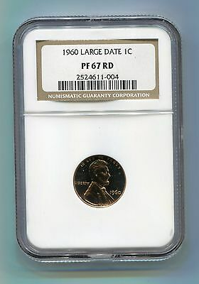 1960 Lincoln LARGE DATE 1 Cent Penny - NGC Certified PF 67 RD Proof Coin - RED