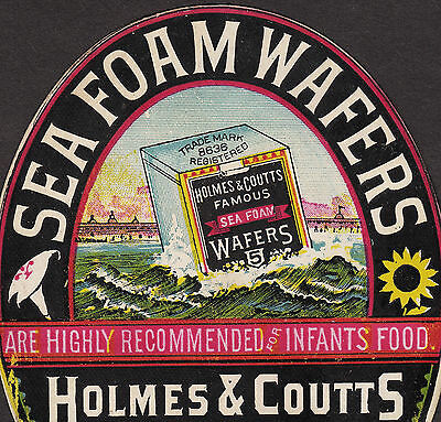Holmes & Coutts Famous Sea Foam Waffers NY ocean die-cut Advertising Trade Card